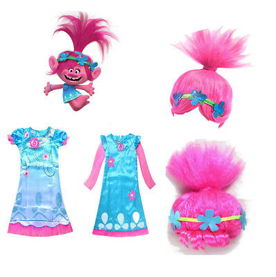 For Girls Kids Trolls Poppy Princess Dress Cosplay Costumes Halloween Party Prop - Costume Dress For Kids