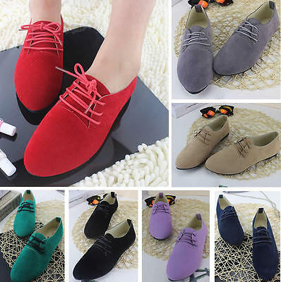(Womens Ladies Girls Suede Oxford Lace Up Pumps Dance Work Casual Low Heel Shoes)