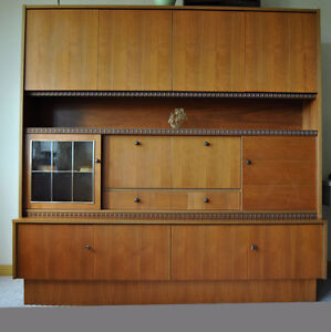 LG Mid-Century Danish Teak Walnut Wall Unit Bar Cabinet~Bookcase