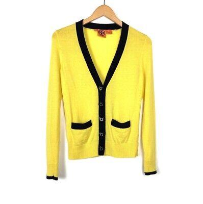 Tory Burch Womens Wool V Neck Cardigan Sweater Sz XS Yellow Black Trim Pockets Pocket V-neck Cardigan