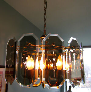Glass Panes & Brass Ceiling Lamp Fixture/Chandelier