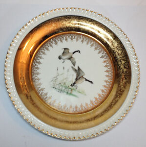 """Georgian China 10"""" Dinner Plate Canada Geese & 22 K Gold - Made"""