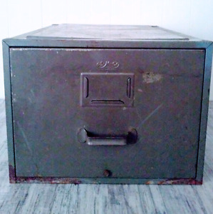 Vintage METAL Filing Cabinet DESK Antique