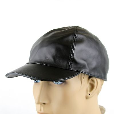 b4de552f0a3 New Gucci Black Leather Baseball Cap Hat with Script Logo 368361 1000