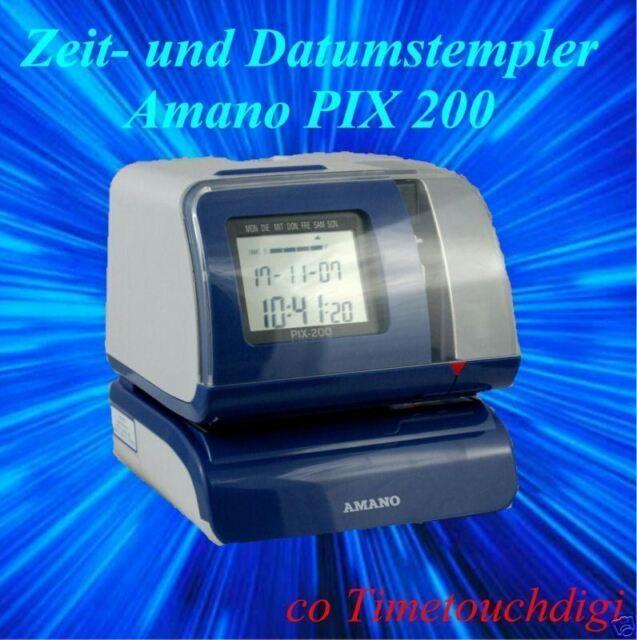 Stempeluhr Stechuhr Amano PIX 200 Zeitstempler für Werkstatt und Posteingang
