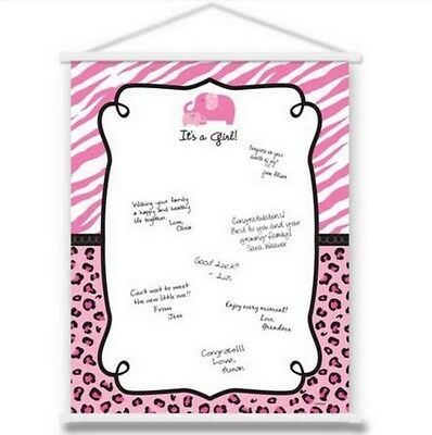 Pink Safari Girl Baby Shower Sign-In Sheet Hanging Scroll - (Baby Shower Scrolls)