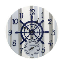 Springfield Captain's Wheel Outdoor Clock and Thermometer Polyresin Blue/White