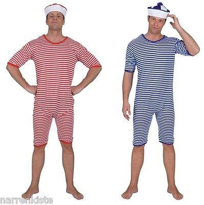 Badeanzug blau weiß gestreift Ringel Retro Beach Party Strand Bade Anzug Kostüm ()