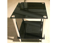 Small Glass Top CoffeeTable - Tinted Black Glass with Chrome Legs
