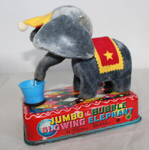 Antique Toy Jumbo Bubble Blowing Elephant Battery Operated Old