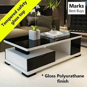 Coffee Table Black Glass Top Modern Style Wooden Frame Polyurathane Finish CT2