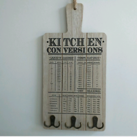 Wooden Conversion Chart Kitchen Measurement Unit Chart wall mounted