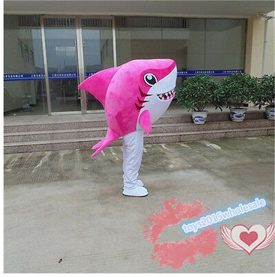 2019 Cute Pink Shark Mascot Costume Adult Size  Dress Cosplay For Festival Gift - Cute Shark Costume