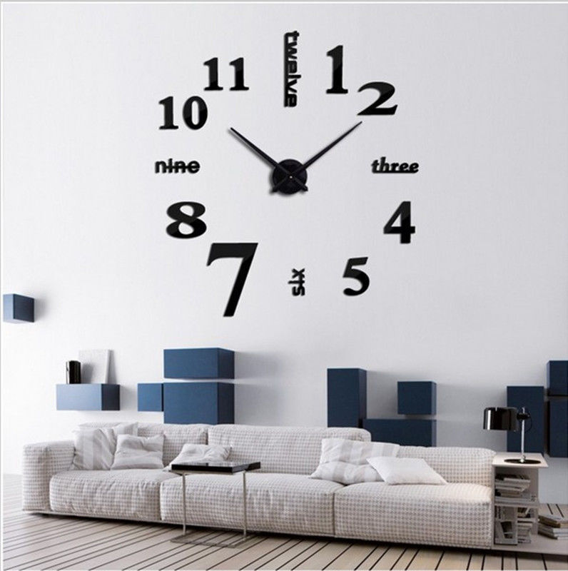 Modern DIY Large Wall Clock 3D Mirror Surface Sticker Home Decor Art Design New