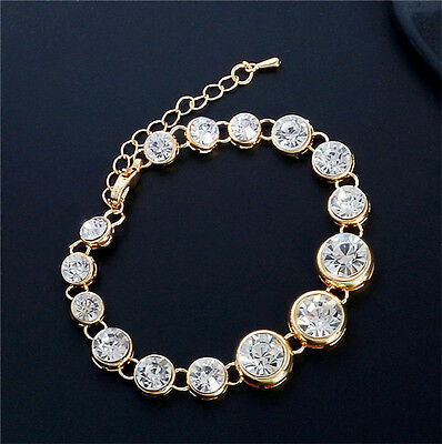 Women Charm CZ 925 Plated Golden Chain Cuff Bangle Bracelet Crystal Jewelry