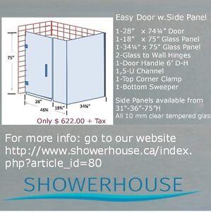 """Glass Shower Doors """"Easy Door"""" Selection from $ 382.00 l"""