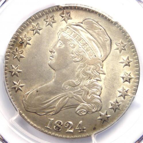 1824 Capped Bust Half Dollar 50C O-117 - PCGS AU Details - Rare Coin!