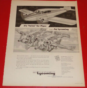 1953 LYCOMING TWIN PIPER ENGINES FOR AIRPLANES AD - VINTAGE 50S