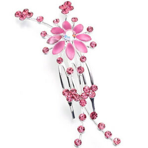 Pink Jeweled Hair Comb