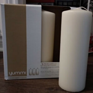"""NEW PILLAR CREAM CANDLES 3""""X8"""" FOR SALE"""