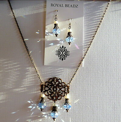Art Nouveau Downton Abbey Inspired Light Blue Crystal Pearl Earring Necklace Set