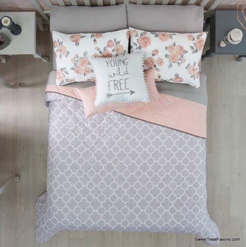 NEW FREE GRAY/PINK TEENS GIRLS Reversible Comforter SET 5 PCS QUEEN/FULL SIZE