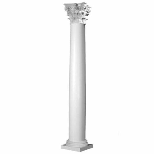 Fiberglass Smooth Tapered Column with Corinthian Cap & Attic Base (Choose Size)