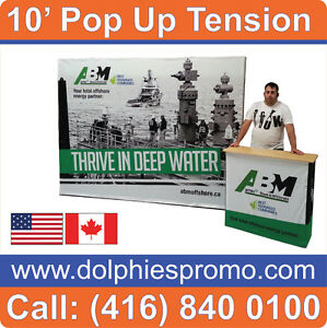 Portable Pop Up Booth Exhibit Display + Dye-Sub Tension Fabric