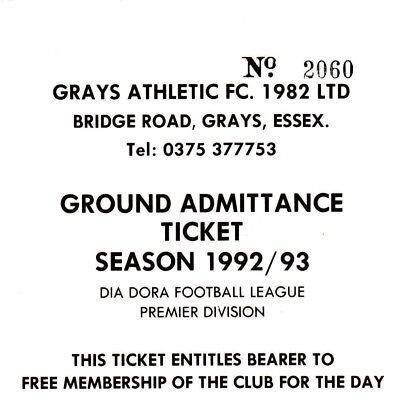 Ticket - Grays Athhletic v Enfield 04.09.1993
