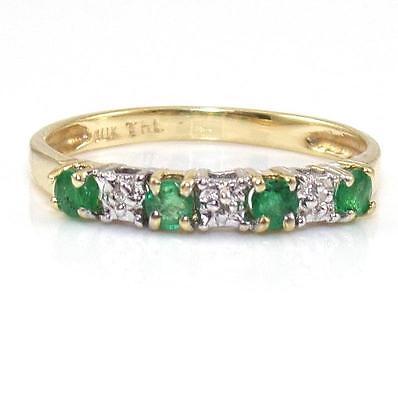 10K Yellow Gold Natural Green Emerald Diamond Band Ring Size 7.5 GTA1