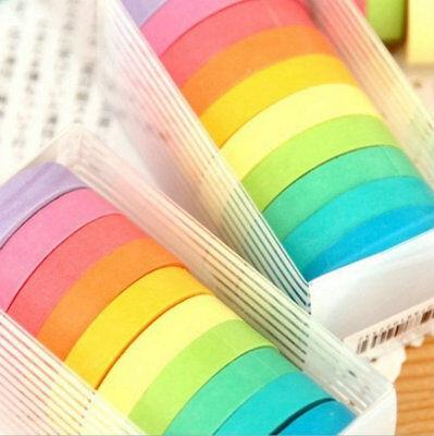 Washi Tape Wholesale (10x Rainbow Washi Sticky Paper Masking Adhesive Decorative Tape Scrapbooking)