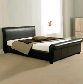 Dark brown Troy Leather Sleigh Bed