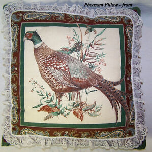 Vintage throw pillow, pheasant, excellent condition full colors.