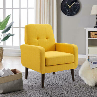 Modern Accent Arm Chair Sofa Seat Leisure Living Room Lounge Furniture Yellow US