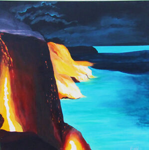 "Acrylic Painting ""Volcano"" Land meets sea"