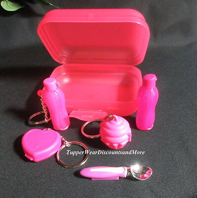 Tupperware NEW Mini Kit PINK Eco Cupcake Keychains Ice Cream Scoop Magnets # 9
