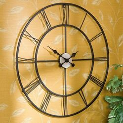 Modern Wall Clock Home Decor Rustic Office Accent Metal Black Roman Numeral 30