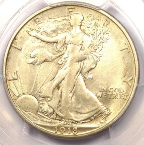 1918-S Walking Liberty Half Dollar 50C - PCGS AU55 - Rare Date - Near MS/UNC!