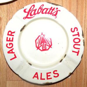 (3) Vintage Labatt's STOUT ALES LAGER BEER Enamelware Ashtrays Windsor Region Ontario image 3