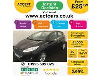 2015 BLACK FORD FIESTA 1.0 ZETEC 80 PETROL 5DR HATCH CAR FINANCE FR £25 PW