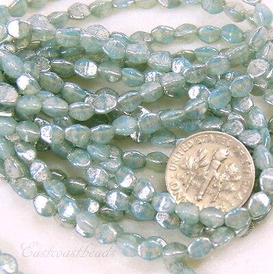 Pinch Beads, Small 3x5mm Beads, Opal/Milky Blue Aqua w/Mercury Finish, 30 Pieces