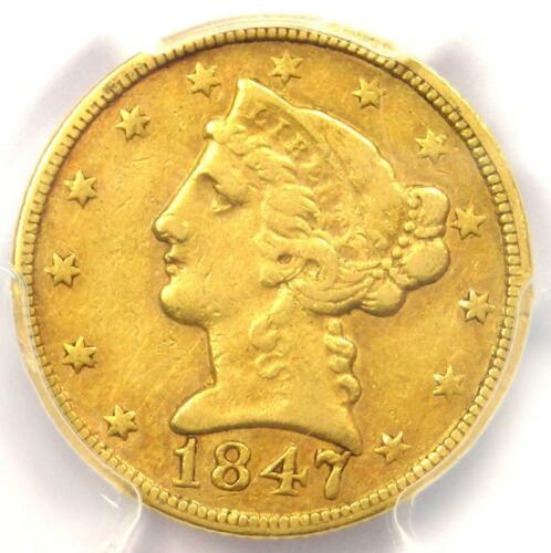 1847-C Liberty Gold Half Eagle $5 - PCGS XF40 (EF40) - Rare Charlotte Gold Coin!