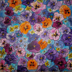 Original Colourful Pansy Painting