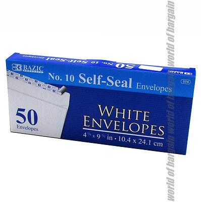 50 Self Sealing Envelopes 10 Mailing Letter White Shipping Postal Peel Seal C17