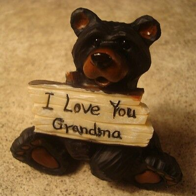 I LOVE YOU GRANDMA Lodge Faux Wood Carved BLACK BEAR Cabin Figurine Home Decor