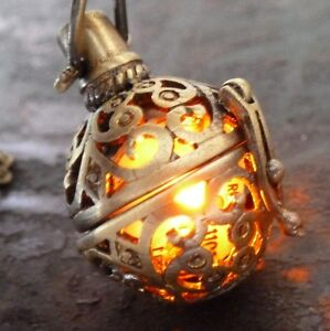 Steampunk-FIRE-necklace-pendant-charm-locket-jewelry-Wicca-Victorian-goth-choker