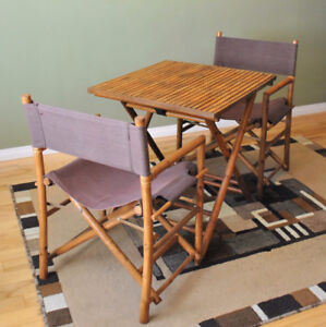 3-Piece Bistro Set: Folding Rattan Furniture