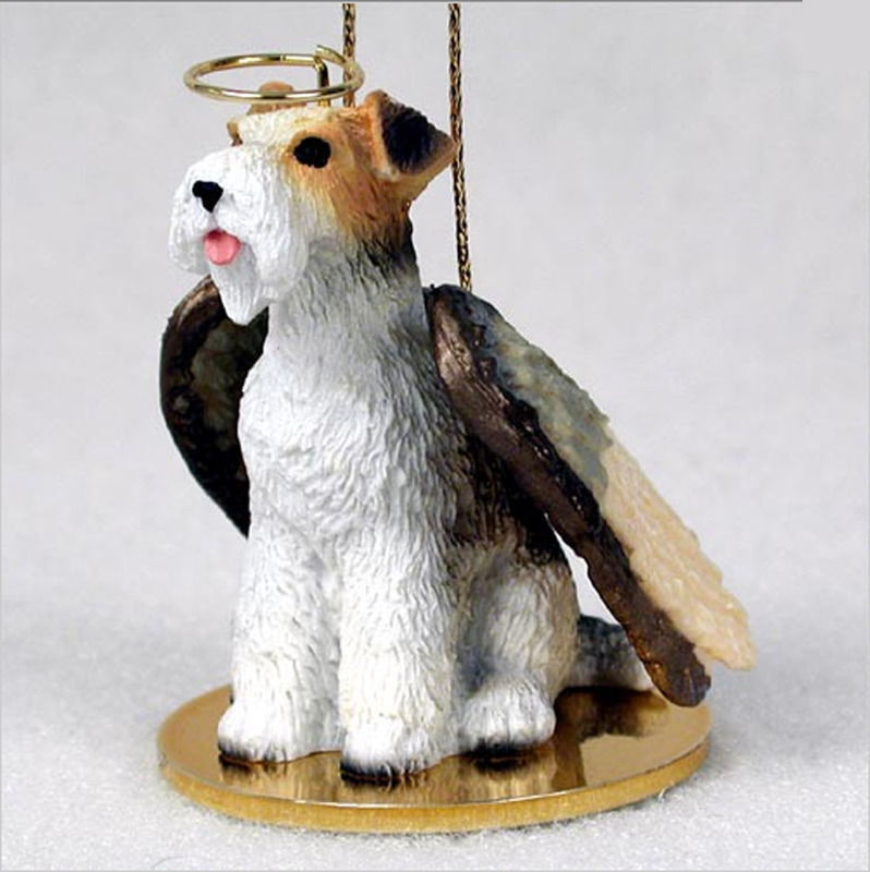 Fox Terrier Ornament Angel Figurine Hand Painted Wire Hair