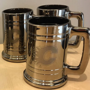 3 Calgary Flames, Chrome-Glass, Beer Steins - New