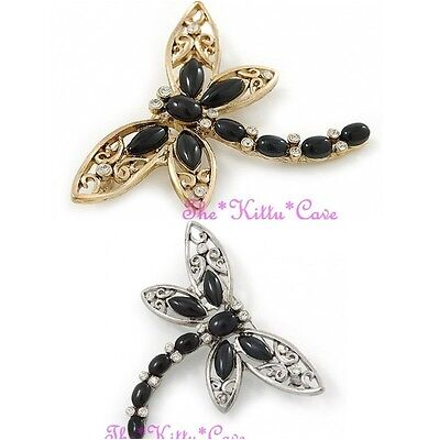 - Large Filigree Faux Black Onyx Dragonfly Mayfly Brooch pin w/ Swarovski Crystals